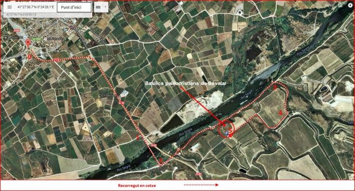 Basílica paleocristiana de Bovalar – Serós - Itinerari - Captura de pantalla de Google Maps, complementada amb anotacions manuals