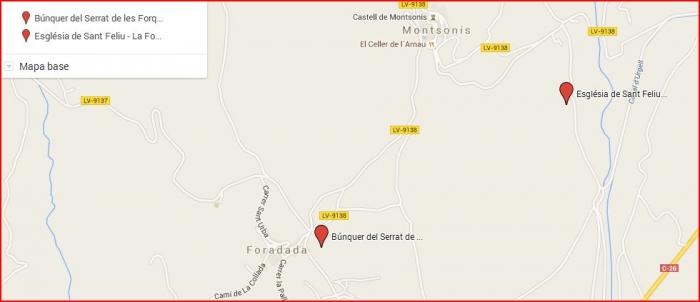 Búnquers a la Foradada - Captura de pantalla de Google Maps