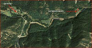 Camí a l'Església de Sant Sebastià del Sull – Saldes - MAPA itinerari visió global - Captura de pantalla de Google Maps, complementada amb anotacions manuals.