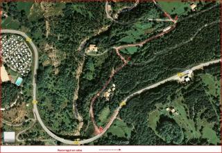 Camí a l'Església de Sant Sebastià del Sull – Saldes - MAPA itinerari inicial - Captura de pantalla de Google Maps, complementada amb anotacions manuals.