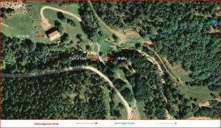 Camí a l'Església de Sant Sebastià del Sull – Saldes - MAPA itinerari intermig - Captura de pantalla de Google Maps, complementada amb anotacions manuals.