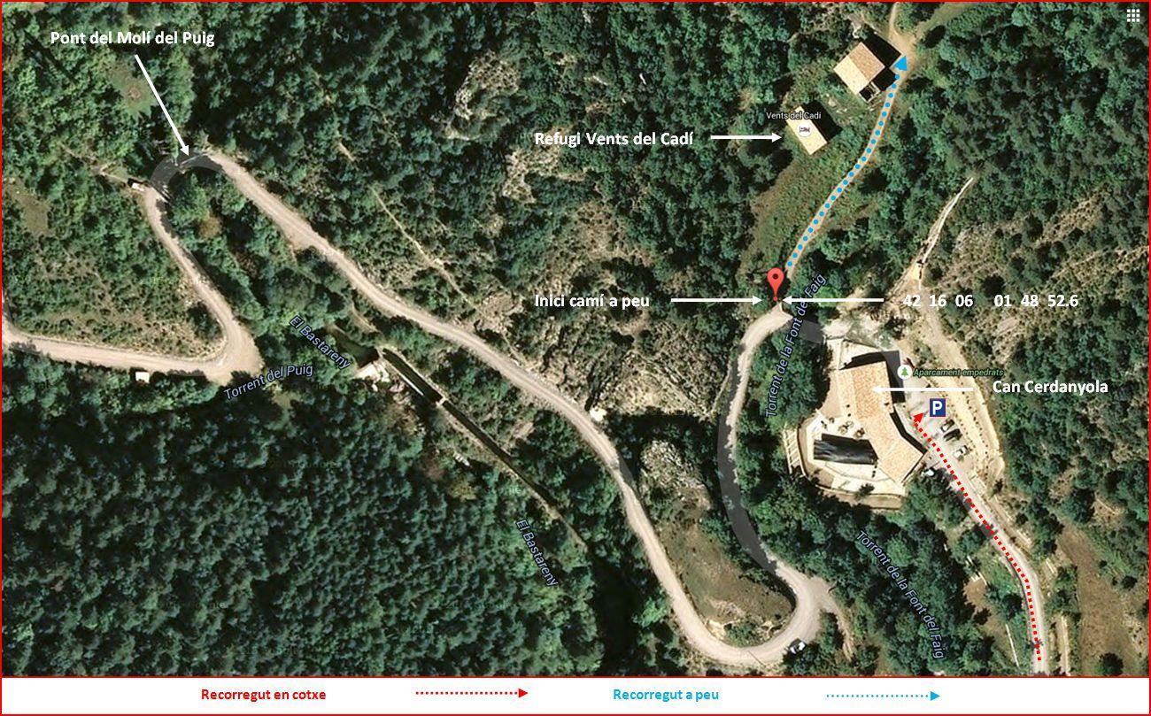 Camí al Bullidor de la Llet i als Empedrats - Captura de pantalla de GOOGLE MAPS, complementada amb anotacions manuals