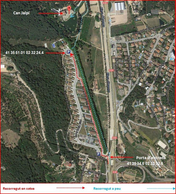 Can Jalpí – Arenys de Munt - Camí d'accès - Captura de pantalla de Google Maps, complementada amb anotacions manuals