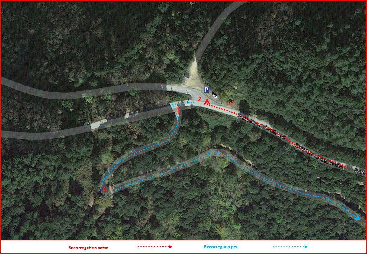 Camí a la Capella de la Mare de Déu del Part – Osor - Part inicial de l\'Itinerari - Captura de pantalla de Google Maps, complementada amb anotacions manuals