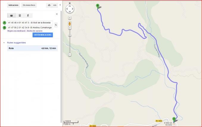 Capella de Sant Andreu de Comallonga - Fonollosa - Itinerari - Captura de pantalla de Google Maps.