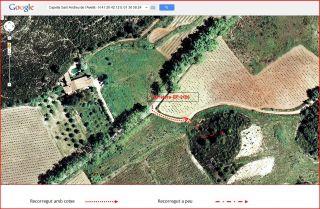 Capella de Sant Andreu de l'Avellà – Font-rubí - Itinerari - Captura de pantalla de Google Maps, complementada amb anotacions manuals.
