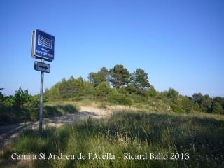 Capella de Sant Andreu de l'Avellà – Font-rubí - Itinerari - Sortida de la carretera BP-2126.