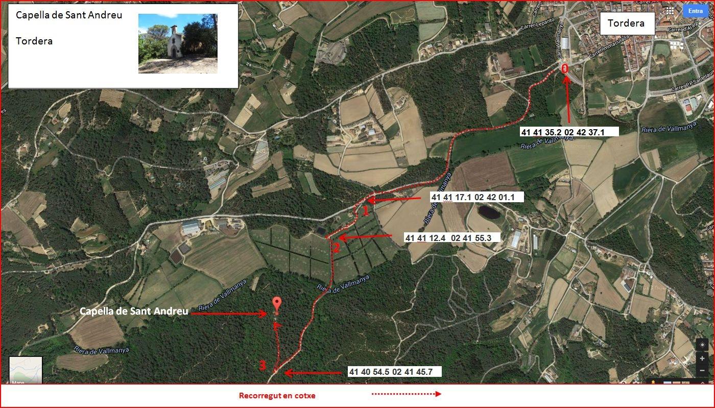 Capella de Sant Andreu – Tordera - Itinerari - Captura de pantalla de Google Maps, complementada amb anotacions manuals
