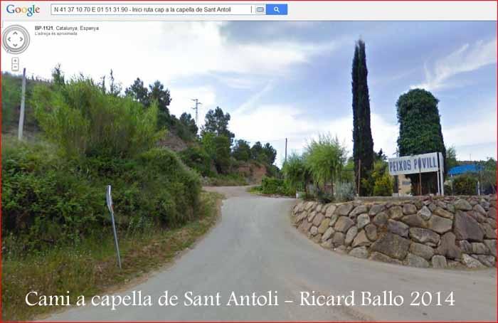 Capella de Sant Antolí – Monistrol de Montserrat - Part inicial de l'itinerari.
