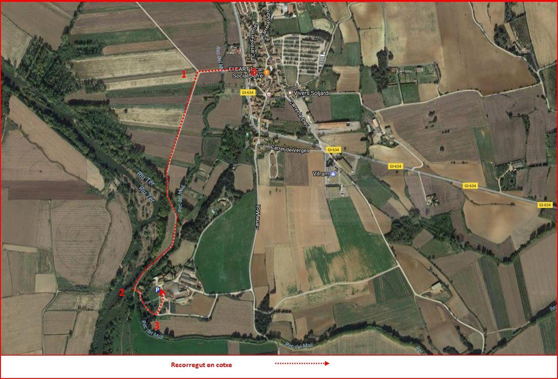 Mapa de situació de la Capella de Sant Antoni de la Salvetat – Jafre. Captura de pantalla de Google Maps, complementada amb anotacions manuals
