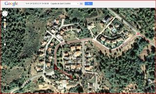 Capella de Sant Cristòfol - Corbera de Llobregat - Itinerari - Captura de pantalla de Google Maps, complementada amb anotacions manuals.