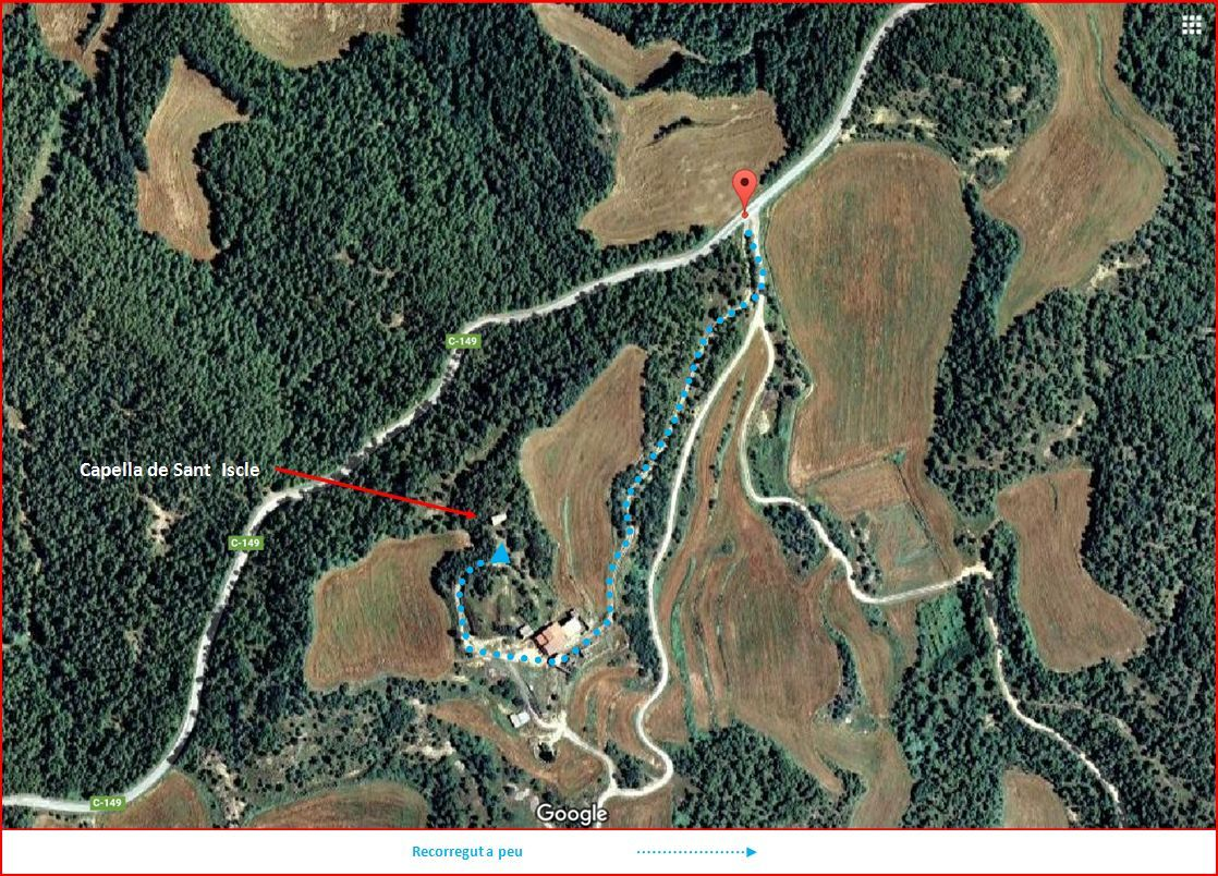 Capella de Sant Iscle-Pinell-Itinerrari- Captura de pantalla de Google Maps, complementada amb anotacions manuals.