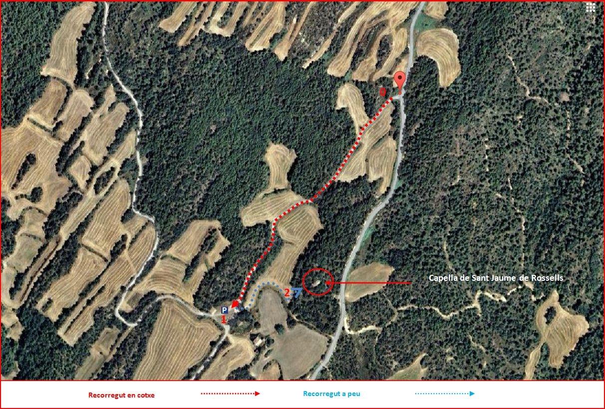 Capella de Sant Jaume de Rossells – Pinell de Solsonès - Itinerari - Captura de pantalla de Google Maps, complementada amb anotacions manuals.