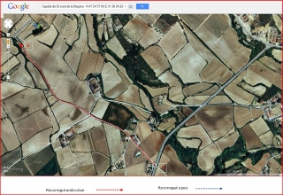 Capella de Sant Joan de la Maçana–Font-rubí - Itinerari - Captura de pantalla de Google Maps, complementada amb anotacions manuals.