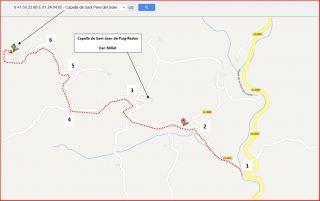 Capella de Sant Joan de Puig-redon / Mapa: captura de pantalla de Google Maps, complementada amb anotacions manuals.