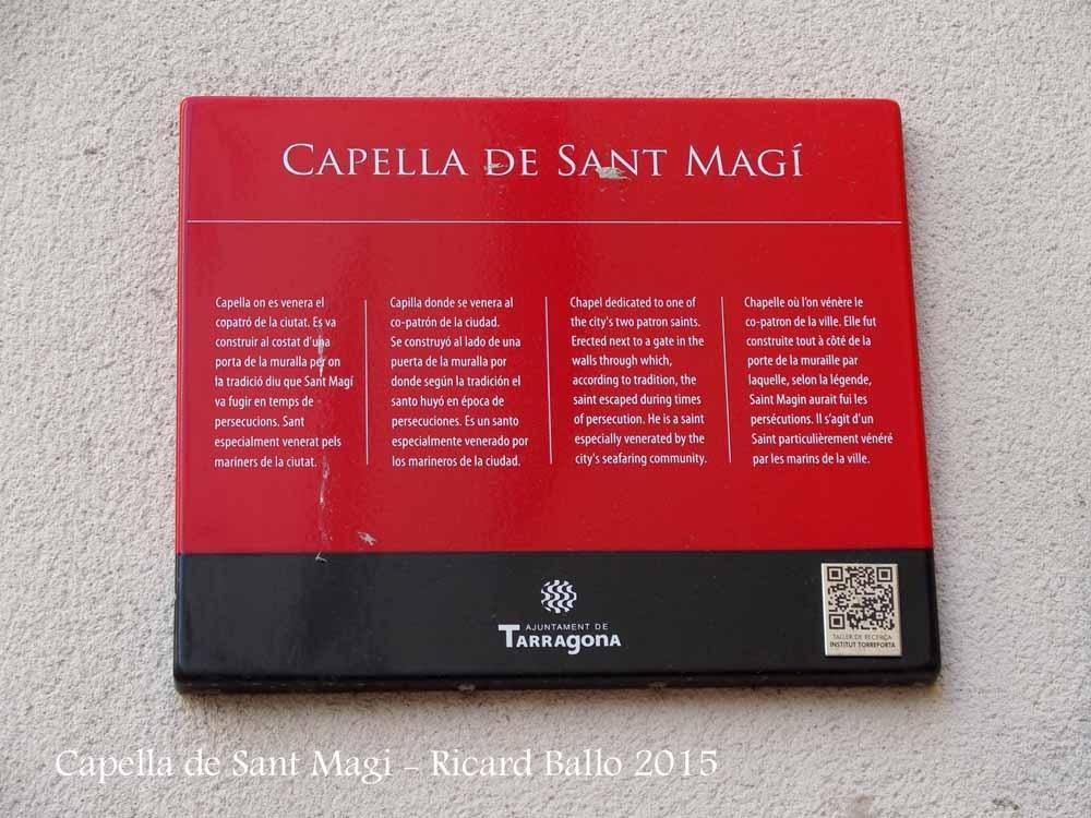 Capella de Sant Magí – Tarragona - Plafó informatiu situat a la façana de l'edificació