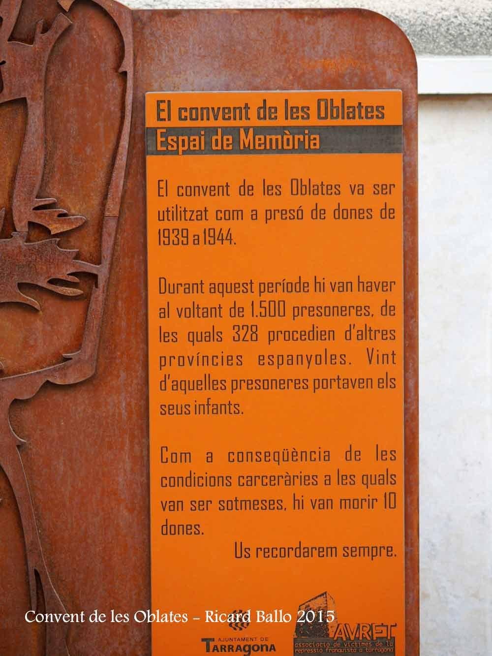 Tarragona - Convent de les Oblates - plafó informatiu - detall
