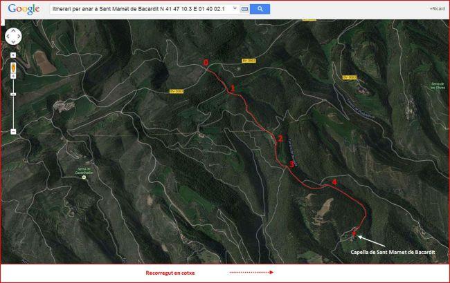 Capella de Sant Mamet de Bacardit – Sant Mateu de Bages - Itinerari - Captura de pantalla de Google Maps, complementada amb anotacions manuals.