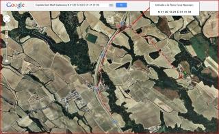 Capella de Sant Martí Sadevesa – Torrelavit - Itinerari - Captura de pantalla de Google Maps, complementada amb anotacions manuals.