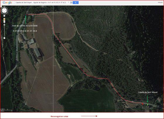 Capella de Sant Miquel – Aguilar de Segarra - Itinerari - Captura de pantalla de Google Maps, complementada amb anotacions manuals.