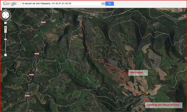 Capella de Sant Miquel de Cirera – Rajadell - Itinerari - Captura de pantalla de Google Maps, complementada amb anotacions manuals.