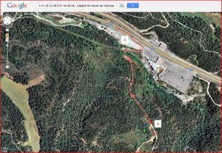 Capella de Sant Miquel de Vilaclara - Inici itinerari - Captura de pantalla de Google Maps, complementada amb anotacions manuals..