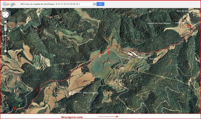 Capella de Sant Miquel d'Oló – Santa Maria d'Oló - Itinerari - Captura de pantalla de Google Maps, complementada amb anotacions manuals.