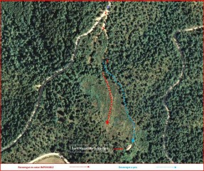 Darrera part del camí a la Capella de Sant Nazari de la Garriga – Oristà - MAPA del itinerari - Captura de pantalla de Google Maps, complementada amb anotacions manuals