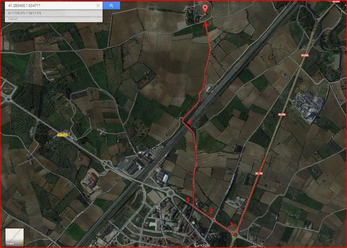 Capella de Sant Ponç - L'Arbós - Itinerari - Captura de pantalla de Google Maps, complementada amb anotacions manuals.