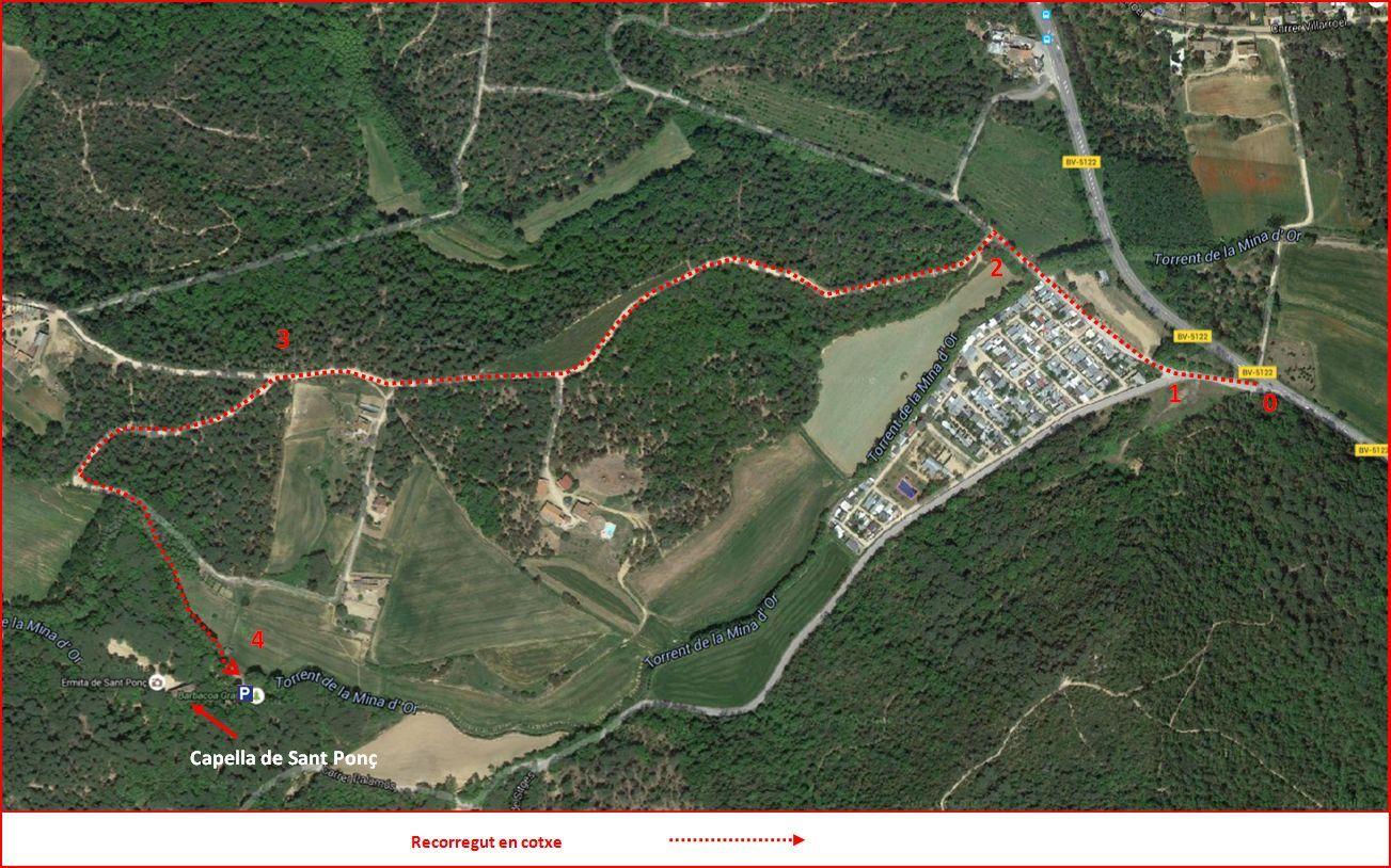 Capella de Sant Ponç – Tordera - Itinerari - Captura de pantalla de Google Maps, complementada amb anotacions manuals