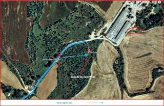 Camí a la Capella de Sant Prim – Olius - Captura de pantalla de Google Maps, complementada amb anotacions manuals