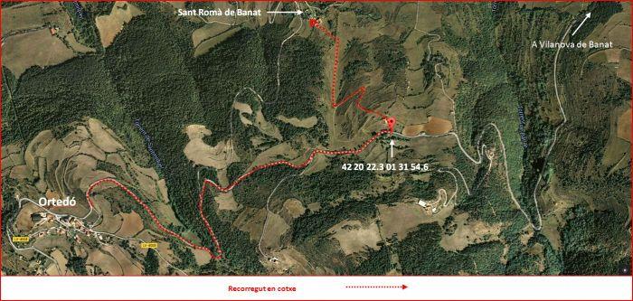 Capella de Sant Romà de Banat – Alàs i Cerc - Detall part final de l'Itinerari - Captura de pantalla de Google Maps, complementada amb anotacions manuals