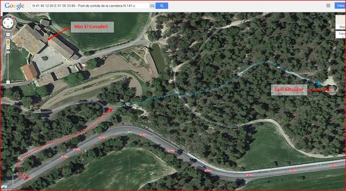 Capella de Sant Salvador del Canadell – Calders - Itinerari - Captura de pantalla de Google Maps, complementada amb anotacions manuals.