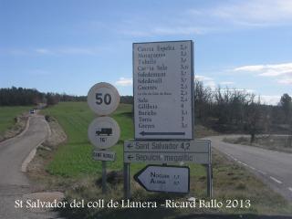 De camí a la capella de Sant Salvador del Coll de Llanera .
