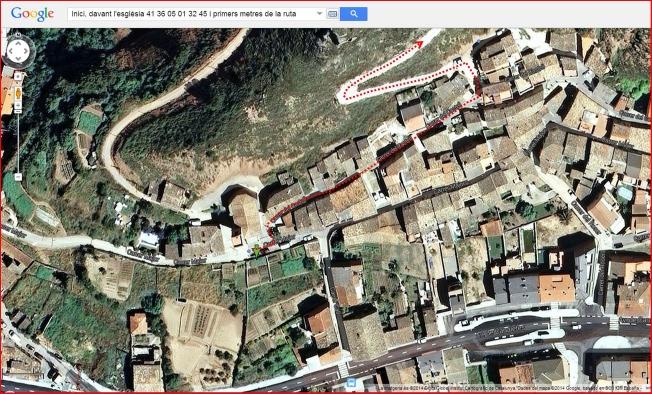 91-Capella de Sant Salvador-Itinerari-Inici-Captura de pantalla de Google Maps, complementada amb anotacions manuals.