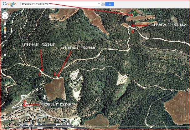 92-Capella de Sant Salvador-Itinerari-Captura de pantalla de Google Maps, complementada amb anotacions manuals.