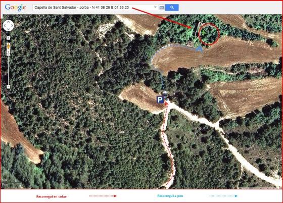 93-Capella de Sant Salvador-Itinerari-Final-Captura de pantalla de Google Maps, complementada amb anotacions manuals.