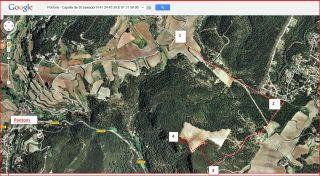 Capella de Sant Salvador – Pontons - Itinerari - Captura de pantalla de Google Maps, complementada amb anotacions manuals.