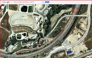 Capella de Sant Sebastià – Òdena - Itinerari - Captura de pantalla de Google Maps, complementada amb anotacions manuals - Detall sortida de l'autopista A-2.