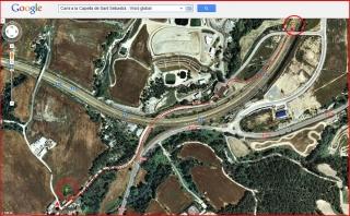 Capella de Sant Sebastià – Òdena - Visió global de l'itinerari - Captura de pantalla de Google Maps, complementada amb anotacions manuals.