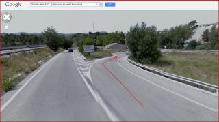 Capella de Sant Sebastià – Òdena - Visió d'una part de l'itinerari - Captura de pantalla de Google Maps, complementada amb anotacions manuals - Sortida A-2 - Detall primera desviació.
