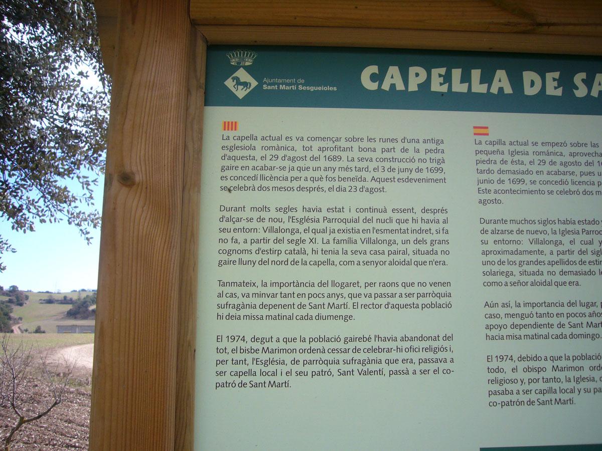 Capella de Sant Valentí de Vilallonga – Sant Martí Sesgueioles