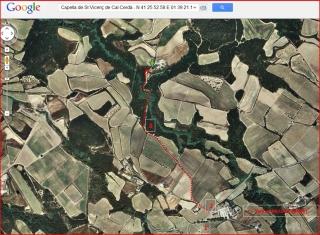Capella de Sant Vicenç de Cal Cerdà - Itinerari - Captura de pantalla de Google Maps, complementada amb anotacions manuals.
