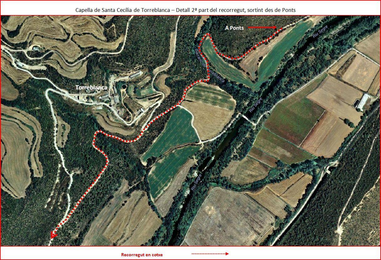 Capella de Santa Cecília de Torreblanca-2º part de l'Itinerari-Google Maps-Captura de pantalla complementada amb anotacions manuals
