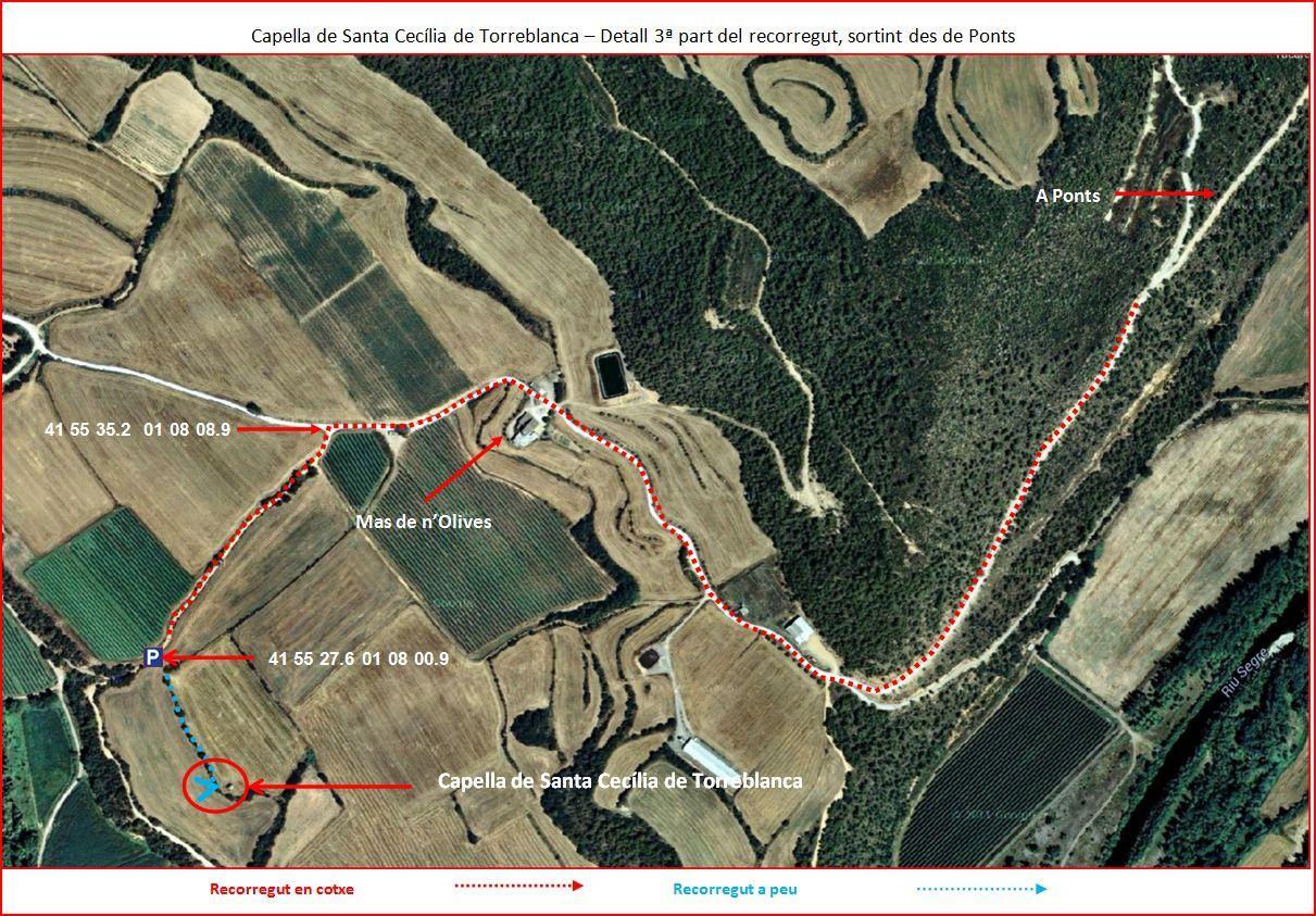 Capella de Santa Cecília de Torreblanca-3º part de l'Itinerari-Google Maps-Captura de pantalla complementada amb anotacions manuals