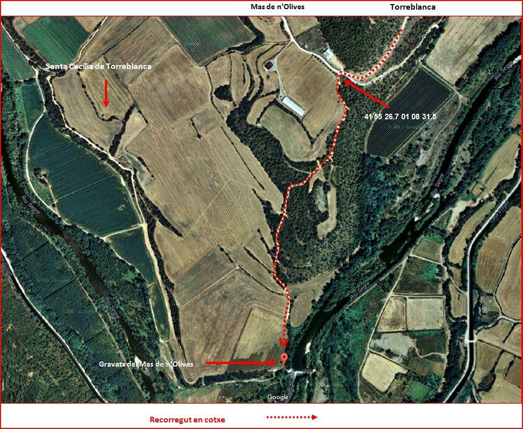 Gravats Mas de n'Olives-Itinerari-Google Maps-Captura de pantalla, complementada amb anotacions manuals