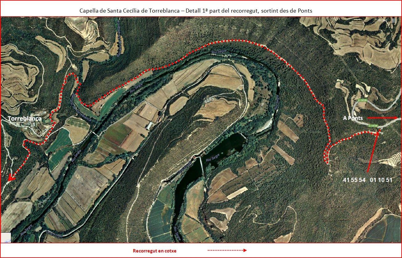 Capella de Santa Cecília de Torreblanca-1º part de l'Itinerari-Google Maps-Captura de pantalla complementada amb anotacions manuals