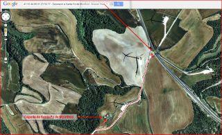 Capella de Santa Fe de Montfred – Talavera - Itinerari - Captura de pantalla de Google Maps, complementada amb anotacions manuals.