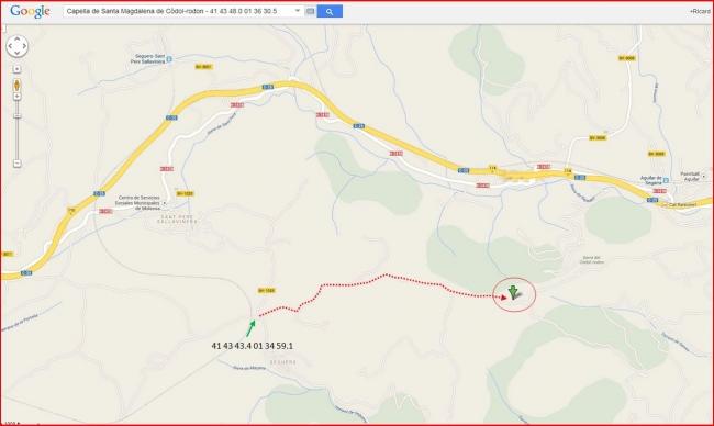 Capella de Santa Magdalena de Còdol-rodon - Itinerari - Captura de pantalla de Google Maps, complementada amb anotacions manuals.