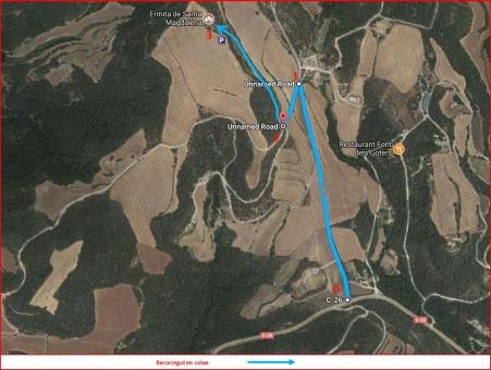 Capella de Santa Magdalena de les Planes-Itinerari- Captura de pantalla de GOOGLE MAPS, complementada amb anotacions manuals.